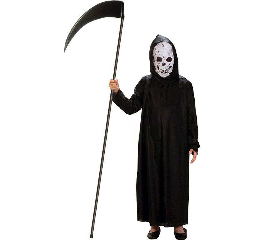 Disfraz de Muerte Esqueleto para niños. Varias tallas. Incluye túnica y capucha-careta. Guadaña NO incluida, podrás verla en la sección de Complementos.