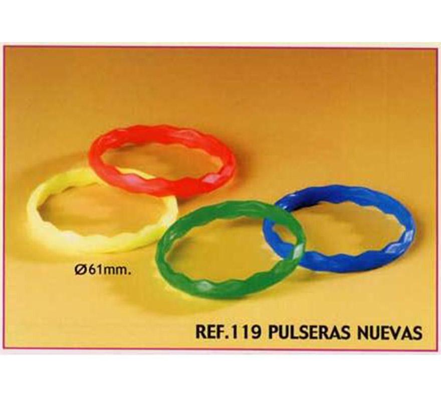 Bolsa de 25 uds. Pulseras para Carrozas. Colores variados. También sirve como relleno de Piñatas para los Cumpleaños.