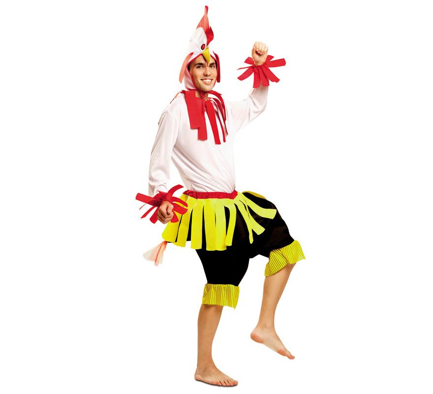 Disfraz de Gallo Blanco para Hombre talla M-L. Se compone de Gorro, Camisa y Pantalón. Completa este disfraz con artículos de nuestra sección de accesorio como maquillaje, guantes, pollo de goma...