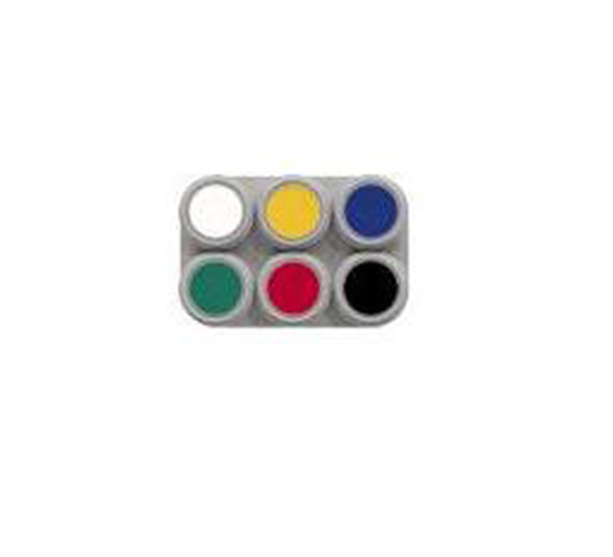 Maquillaje al agua (water make-up). Paleta de 6 colores de 2,5 ml.; (blanco, amarillo, azul, verde, rojo y negro). -Fácil de usar, (como acuarelas). -Se quita con agua y jabón. -Antialérgico.