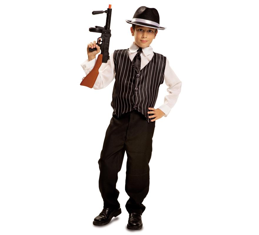 Disfraz de Mafioso para Niño de 3 a 4 años. Gánster. Se compone de Camisa, Chaleco, Corbata y Pantalón. Completa este disfraz con artículos de nuestra sección de accesorios como sombrero, pistola o metralleta, bigote, puro...