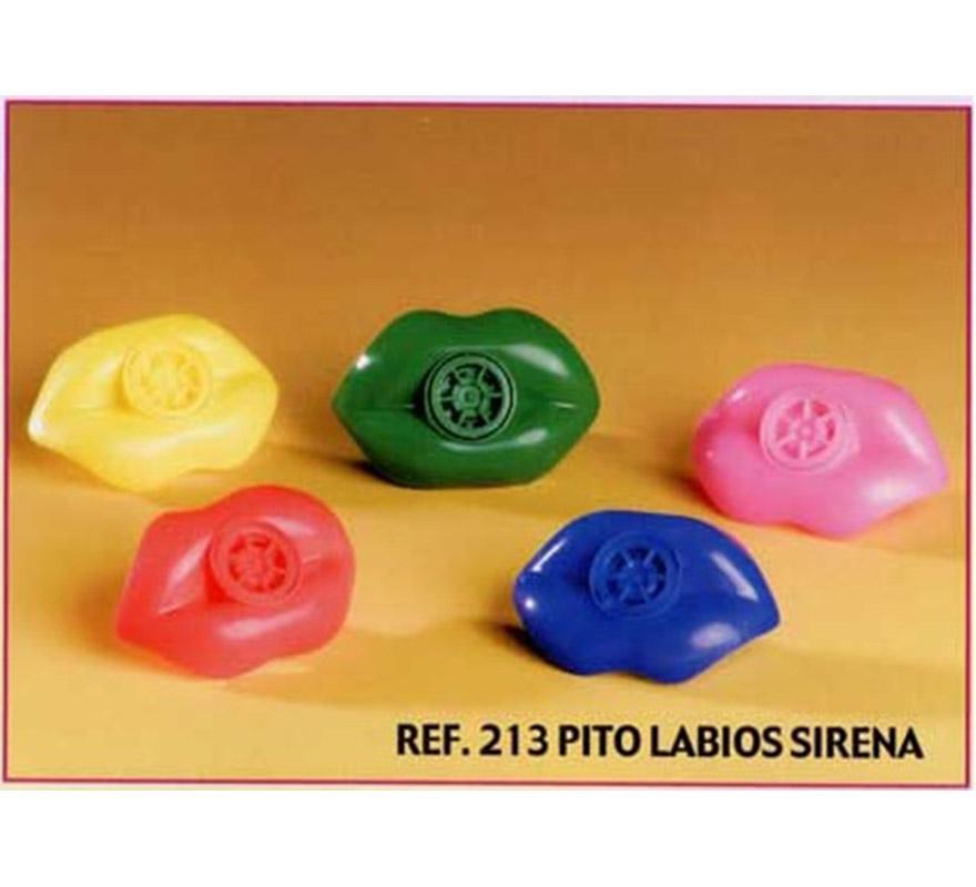 Bolsa de 24 uds. Pitos sirena Labios para Carrozas. Colores variados. También sirve como relleno de Piñatas para los Cumpleaños.