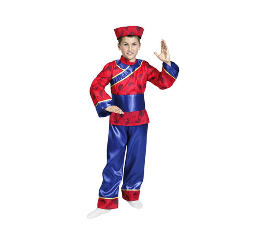 Disfraz super barato de Chino para niños de 3 a 4 años. Incluye gorro, blusón, cinturón y pantalones.