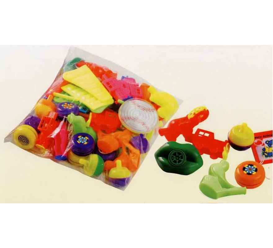 Bolsa surtida de 50 Baratijas de importación para Carrozas. Colores variados. También sirve como relleno de Piñatas para los Cumpleaños.