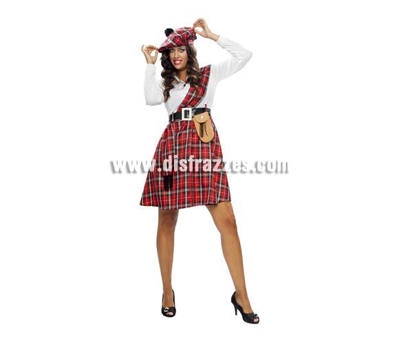 Disfraz barato de Escocesa adulta. Talla standar M-L 38/42. Incluye boina, camisa, manto, cinturón, bolso y falda. Disfraz de Escocesa Sexy para mujer. Éste disfraz está en talla XL con la ref. 05235BT y en talla S con la ref. 11898BT.