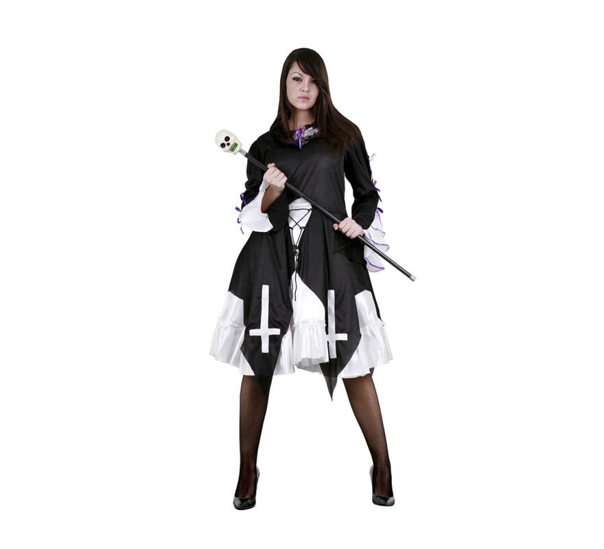 Disfraz de Vampira Gótica Adulta Económico. Talla Standar M-L = 38/42. Incluye vestido y sobrevestido. Bastón con calavera NO incluido.