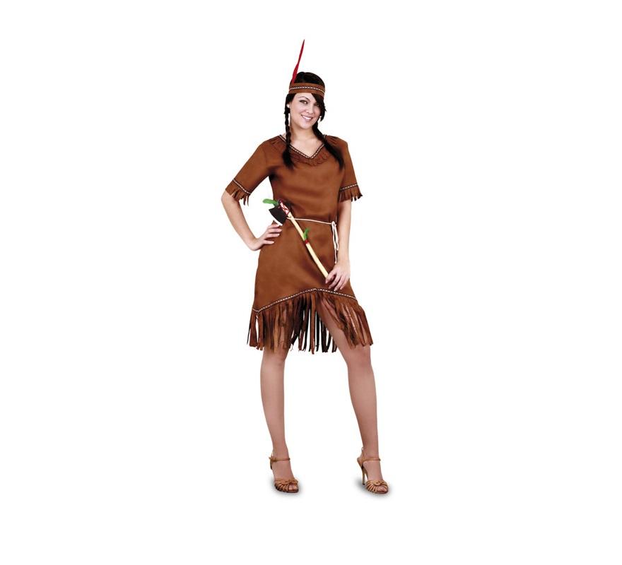 Disfraz barato de India adulta. Talla M-L 38/42. Incluye vestido, cinturón y cinta cabeza. Hacha NO incluida, podrás verla en la sección Accesorios.