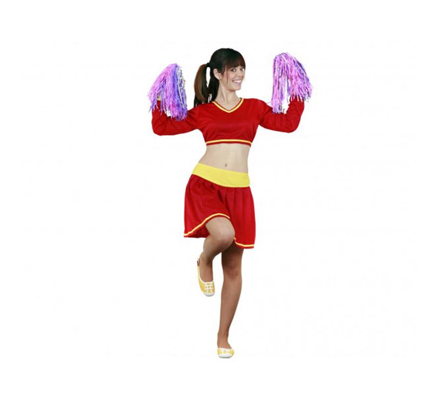 Disfraz de Animadora de España adulta. Talla standar M-L = 38/42. Incluye top y falda. Pompones NO incluidos, podrás verlos en la sección de Complementos. Un disfraz muy sexy para animar a nuestra Selección Española o a cualquiera.