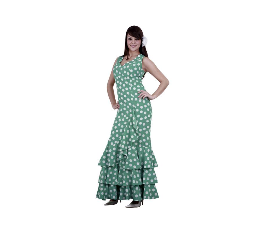 Disfraz de Flamenca verde con lunares blancos para mujer. Talla standar M-L = 38/42. Incluye vestido. Disfraz de Sevillana o Andaluza adulta ideal para disfrazarse y para Despedidas de Soltera.