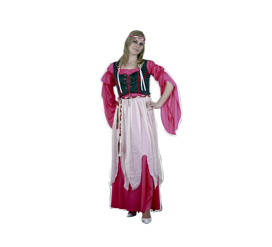 Disfraz barato de Campesina del Renacimiento para mujer. Talla standar M-L = 38/42. Incluye vestido, corpiño y cinturón. Disfraz de Doncella Medieval perfecto para Ferias y Fiestas Medievales.