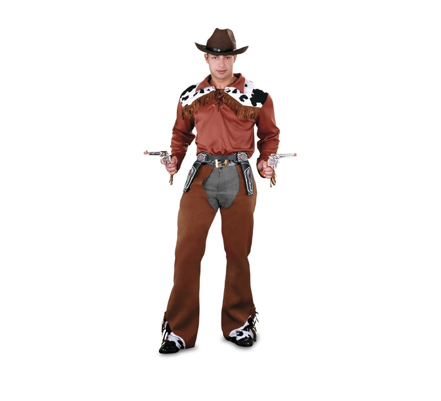 Disfraz de Vaquero adulto. Talla standar M-L = 52/54. Incluye camisa, cinturón y zahones. Pistolas, cartucheras y sombrero NO incluidos, podrás ver todos éstos artículos en la sección de Complementos. Traje de Pistolero de Vaquero para hombre talla Universal.