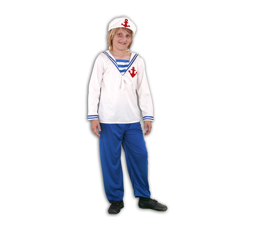 Disfraz de Marinero infantil barato para Carnaval. Talla de 5 a 6 años. Incluye gorro, camisa y pantalón. Éste disfraz de Marinero de niño para Carnaval es ideal para divertirse en las Fiestas de Carnavales.