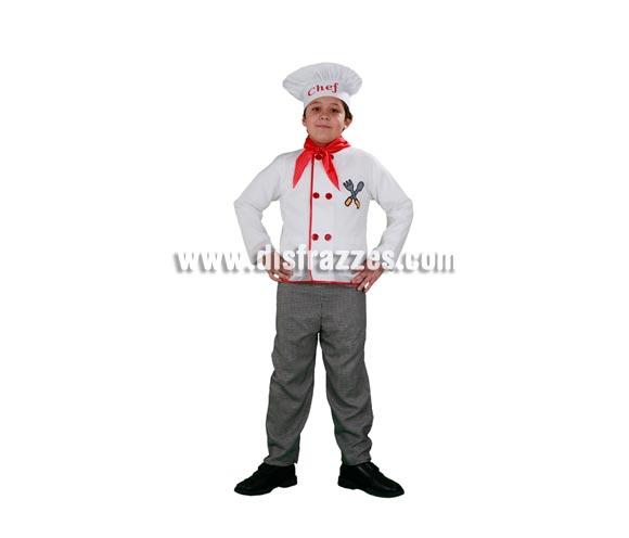 Disfraz de Cocinero infantil. Talla de 5 a 6 años. Incluye gorro, pañuelo, camisa y pantalón.