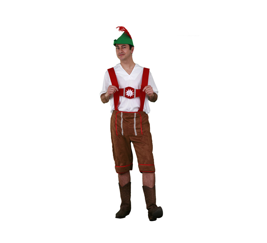 Disfraz de Tirolés adulto. Talla standar M-L = 52/54. Incluye sombrero, camisa y pantalones. Si vas a ir a la Fiesta de la Cerveza ni te lo pienses, jajajaja.