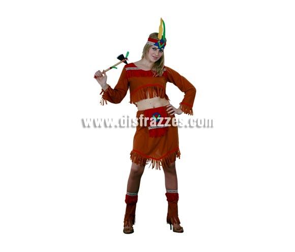 Disfraz bastante barato de India de manga larga para mujer. Talla standar M-L = 38/42. Incluye tocado, top de manga larga, falda y polainas. Hacha NO incluidda, podrás verla en la sección Complementos. Éste disfraz es muy original y muy chulo para Fiestas y para Carnaval.