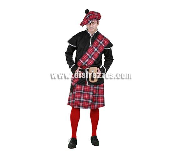 Disfraz barato de Escocés adulto. Talla standar M-L 52/54. Incluye boina, chaqueta, manto, cinturón, bolso y falda. Éste disfraz está en talla S con la ref. 11899BT y en talla XL con la ref. 05234BT.