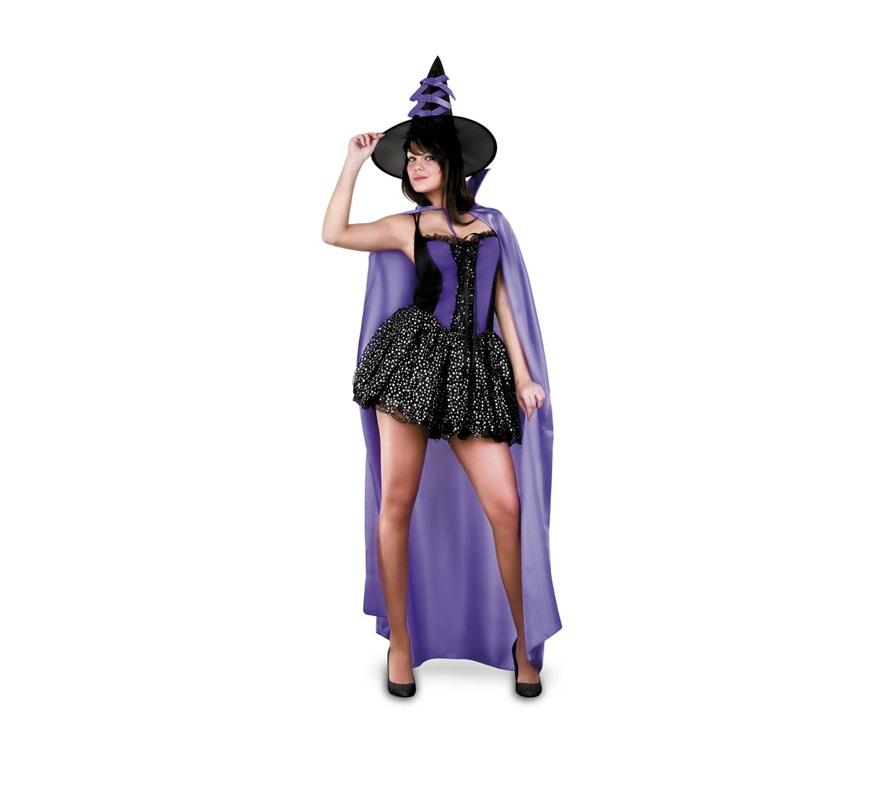 Disfraz de Bruja Morada con capa adulta para Halloween. Talla standar M-L = 38/42. Disfraz de Halloween barato. Incluye sombrero, vestido y capa.