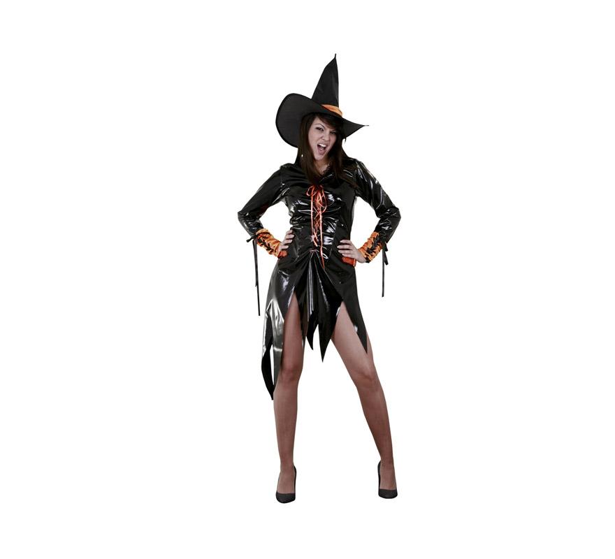 Disfraz de Bruja Naranja Sexy con mitones adulta para Halloween. Disfraz barato. Talla estándar M-L = 38/42. Incluye sombrero, vestido y mitones.
