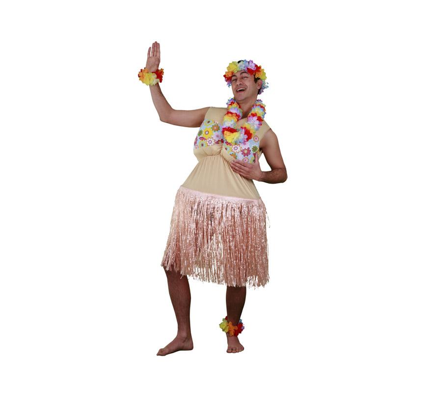 Disfraz de Hawaiana Gorda para hombre. Talla M-L = 52/54. Incluye vestido con falda. Resto de accesorios NO incluidos, podrás encontrar en la sección de Complementos. Ideal para Despedidas de Soltero.