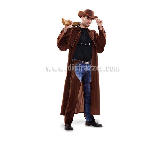 Disfraz de Vaquero abrigo para hombre. Talla standar M-L 52/54. Incluye sombrero, abrigo, camisa y zahones. Éste disfraz de Pistolero para chico es diferente y está muy chulo.