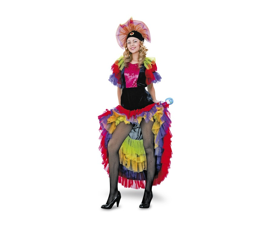 Disfraz de Salsa adulta. Talla Standar M-L = 38/42. Incluye vestido y tocado del pelo. Disfraz de Caribeña, Rumbera o Brasileña para mujer.