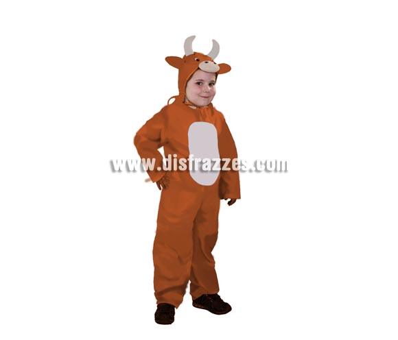 Disfraz de Buey infantil económico. Talla de 7 a 9 años. Incluye mono y capucha. Un disfraz ideal para representaciones de Navidad en Colegios.