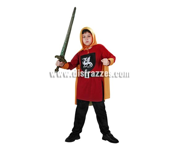 Disfraz de Guerrero Medieval Cazador de Dragones para niños de 7 a 9 años. Incluye capa, casaca, cinturón y pantalón. Espada NO incluida, podrás ver espadas en la sección de Complementos - Armas.