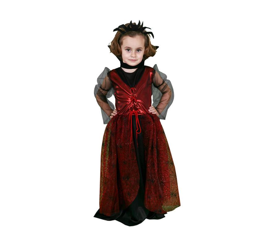 Disfraz de Vampiresa Arácnida talla de 10 a 12 años. Incluye tocado, cuello y vestido.