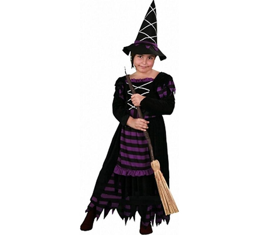 Disfraz de Bruja Morada Económico talla de 7 a 9 años. Incluye vestido y sombrero. Escoba NO incluida.
