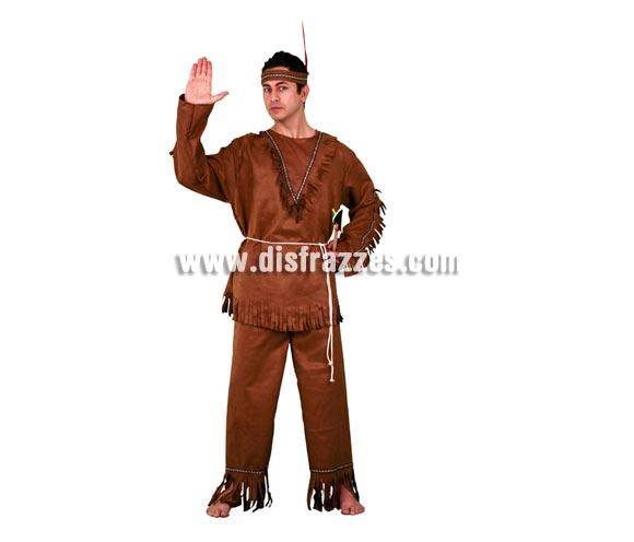 Disfraz de Indio adulto. Talla standar M-L = 52/54. Incluye cinta de la cabeza, camisa, cinturón y pantalón.