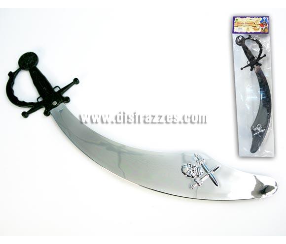 Espada de Pirata empuñadura negra con hoja plateada.