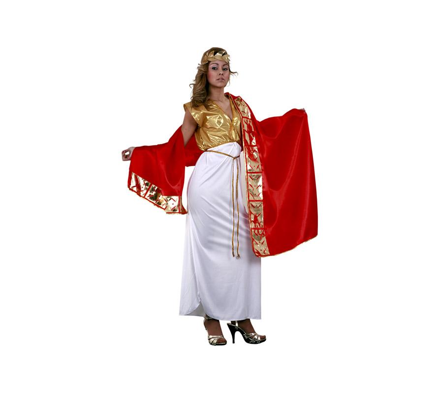 Disfraz de Emperatriz Romana adulta económico. Talla standar M-L = 38/42. Incluye túnica, manto cinturón y corona. Traje de Romana perfecto para Carnaval y para Cabalgatas de Reyes Magos en Navidad.