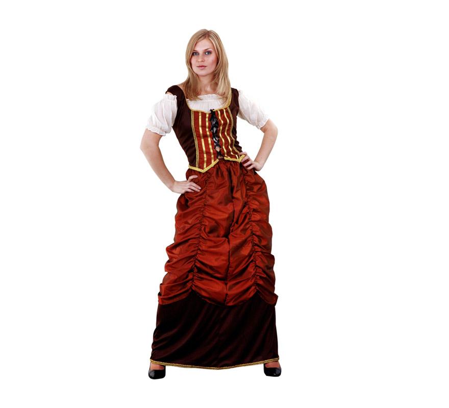 Disfraz de Sirvienta Pirata para mujer. Talla Standar M-L = 38/42. Incluye blusa, corpiño y falda. También se utiliza como disfraz de Tabernera, Mesonera o Posadera Medieval. El color del delantal puede variar un poco.