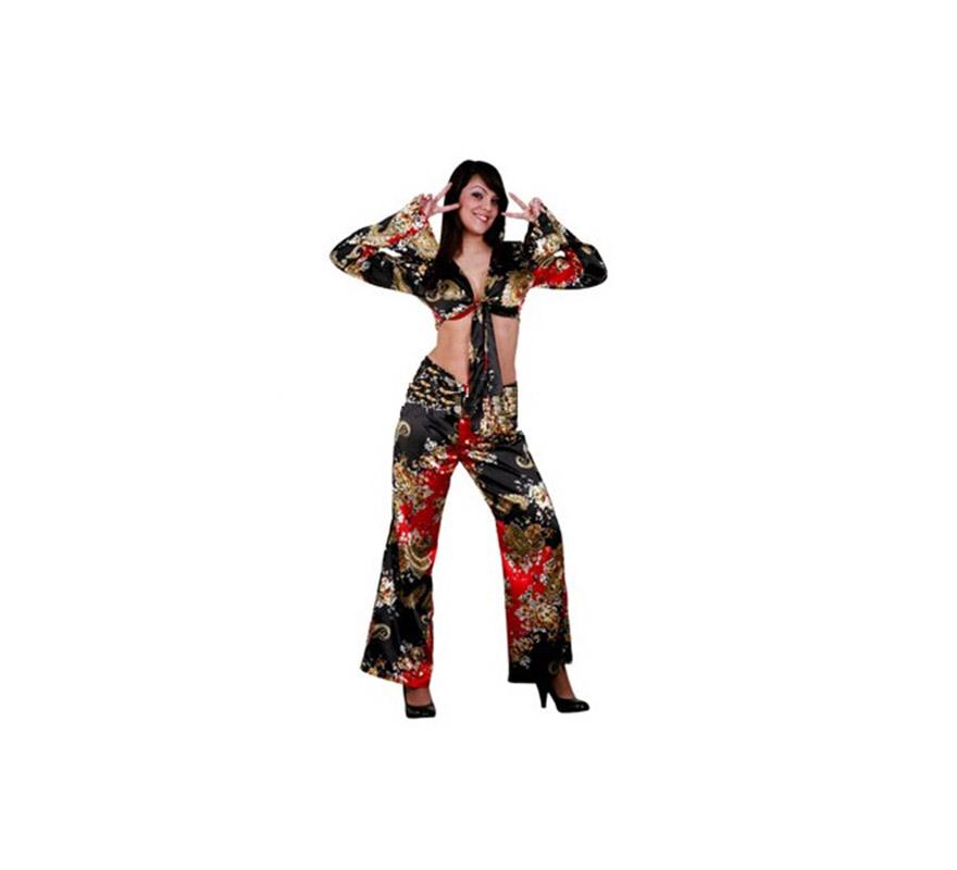 Disfraz de Hippie adulta. Talla standar M-L = 38/42. Incluye blusa y pantalón. En la sección de Complementos, podrás ver muchos artículos o Coplementos para los disfraces de Hippie. Paz y Amor.