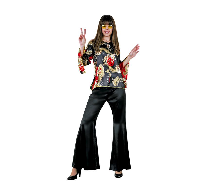 Disfraz de Hippie adulta económico. Talla standar M-L = 38/42. Incluye blusa y pantalón. Gafas y collar de la Paz NO incluidos, podrás verlos en la sección Complementos.