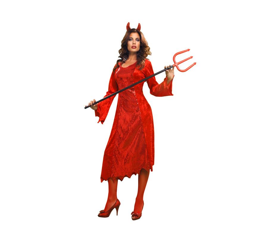 Disfraz de Diablesa o Demonia traje largo adulta de Halloween. Talla estándar M-L = 38/42. Incluye diadema y vestido con rabo. Tridente NO incluido, podrás verlo en la sección de Complementos.