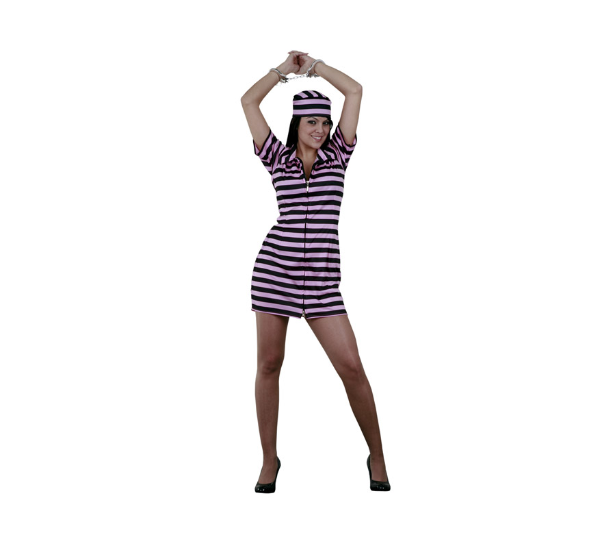 Disfraz de Presa Rosa adulta. Talla standar M-L 38/42. Incluye vestido y gorro. Un disfraz muy sexy ideal para Despedidas de Soltera. Disfraz de Prisionera Sexy para mujer.