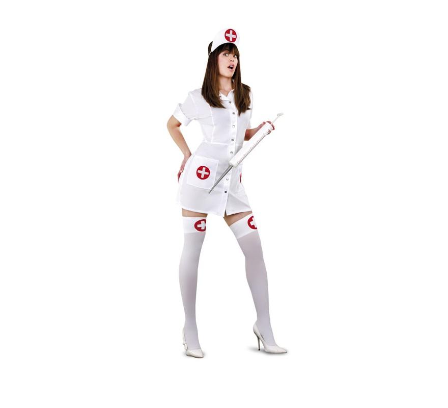 Disfraz barato de Enfermera Sexy traviesa para mujer. Talla standar M-L = 38/42. Incluye gorro y vestido. Accesorios NO incluidos, podrás verlos en la sección Complementos.