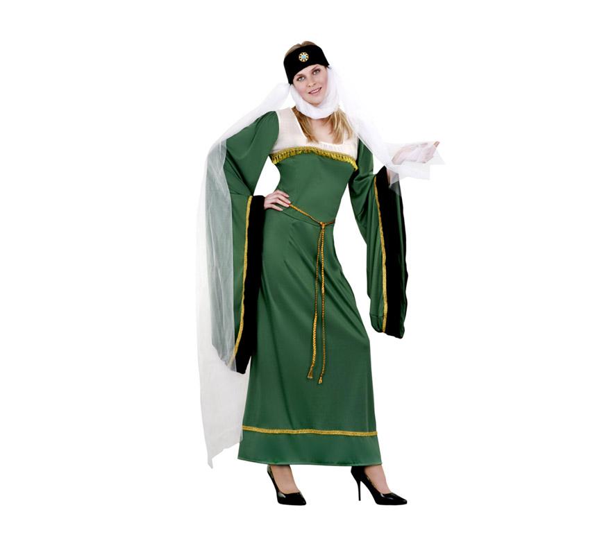 Disfraz de Lady Noble verde para mujer. Talla standar M-L 38/42. Incluye vestido, tocado y cinturón. Disfraz de Lady Noble Medieval para mujer.