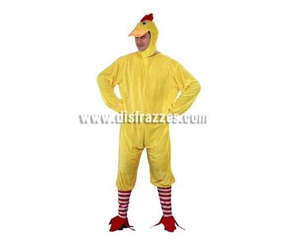 Disfraz barato de Pollo para hombre. Talla M-L = 52/54. Incluye gorro, mono y calcetas con patas o cubrepies.