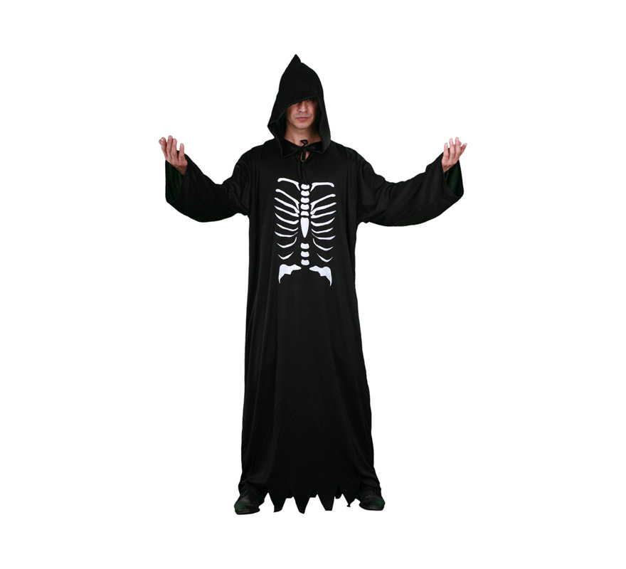 Disfraz de Túnica Muerte Esqueleto adulto para Halloween barato. Talla Standar M-L 52/54. Incluye túnica con capucha.