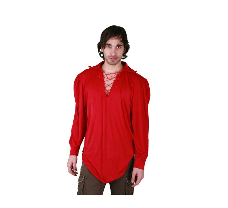 Camisa roja con cordón para hombre talla M-L 52/54. Ideal para disfrazarse de Diablo en Halloween, Pirata o de lo que se te ocurra.