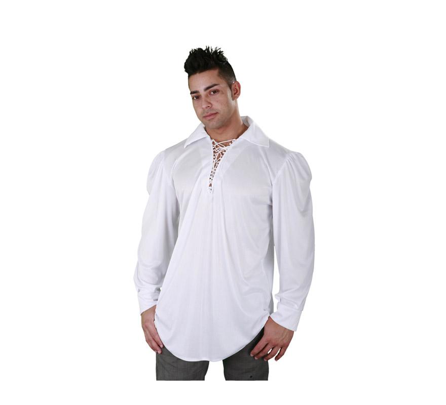 Camisa blanca con cordón para hombre talla M-L 52/54. Ideal como camisa Pirata o de Mesonero o Posadero Medieval.