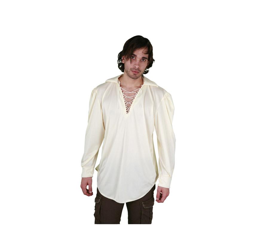 Camisa color crema con cordón para hombre talla M-L 52/54. Ideal como camisa Pirata o de Mesonero o Posadero Medieval.