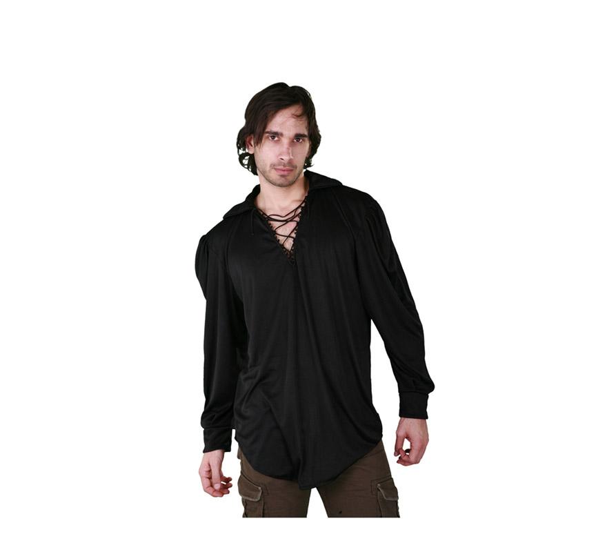 Camisa negra con cordón para hombre. Talla M-L 52/54. Ideal como camisa Pirata o de Mesonero o Posadero Medieval.
