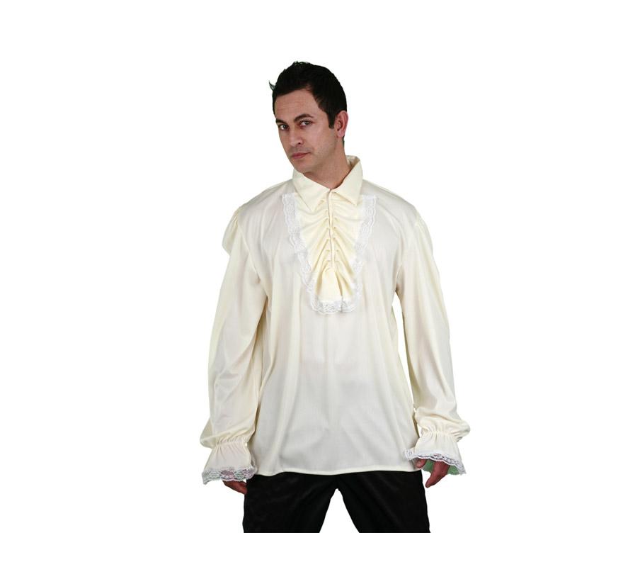 Camisa con puntilla de color crema para hombre talla M-L 52/54. Ideal para disfrazarse de Pirata, de Época o de lo que se te ocurra.