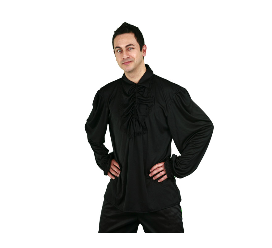Camisa con puntilla de color negro para hombre talla M-L 52/54. Ideal para disfrazarse de Pirata.