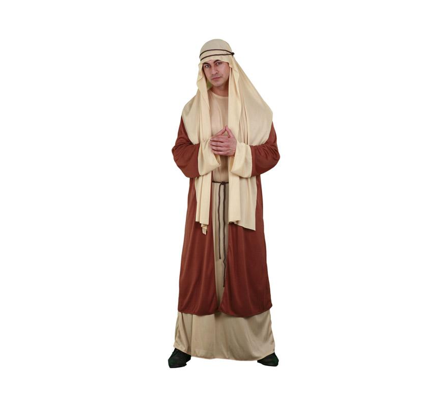 Disfraz de San José adulto barato para Navidad. Talla Standar M-L 52/54. Incluye pañuelo, túnica, abrigo y 2 cordones. Un disfraz barato ideal para representaciones Navideñas. Éste disfraz también podría servir como disfraz de Hebreo o de Árabe.
