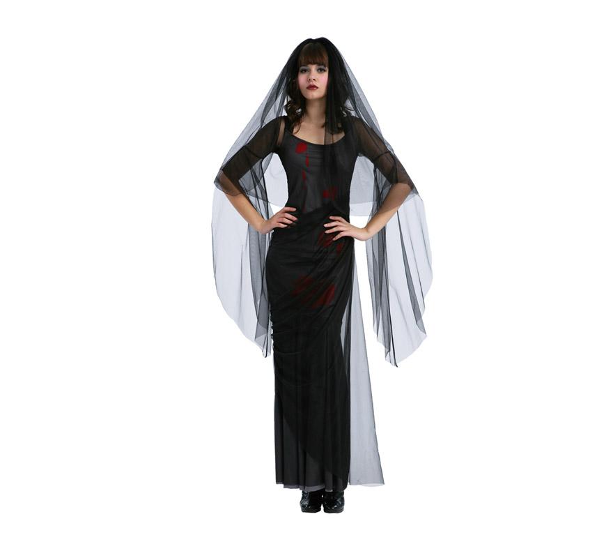 Disfraz barato de Novia Siniestra adulta de Halloween. Talla estándar M-L = 38/42. Disfraz barato para Halloween que incluye vestido manchado de sangre y velo.