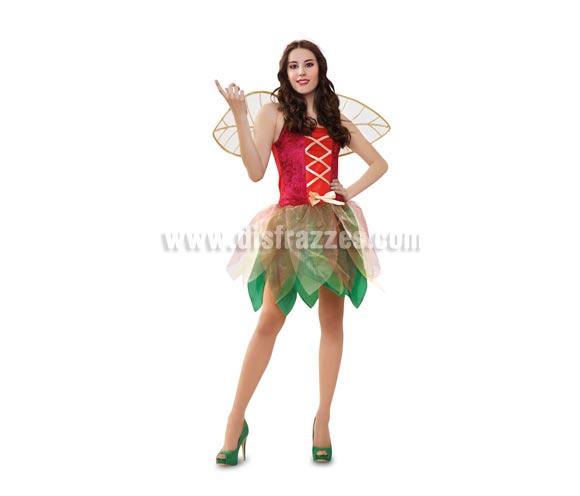 Disfraz de Hada del Bosque adulta. Talla standar M-L 38/42. Incluye vestido, alas y diadema. Disfraz de Hada Sexy con alas para Carnaval o para Cabalgatas de Reyes Magos en Navidad.